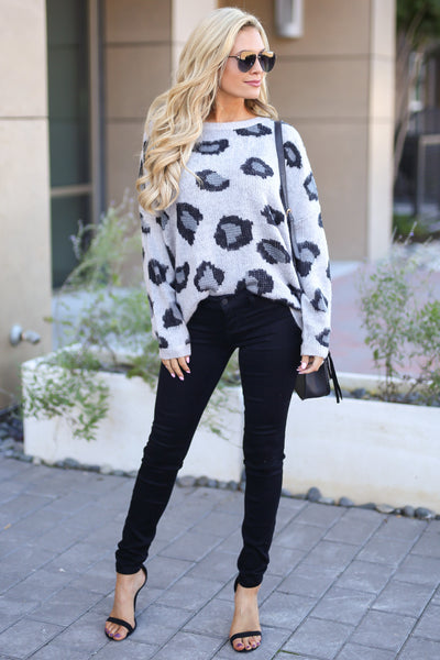 Love Spell Leopard Sweater - Grey animal print cozy pullover, fall outfit, closet candy boutique 2