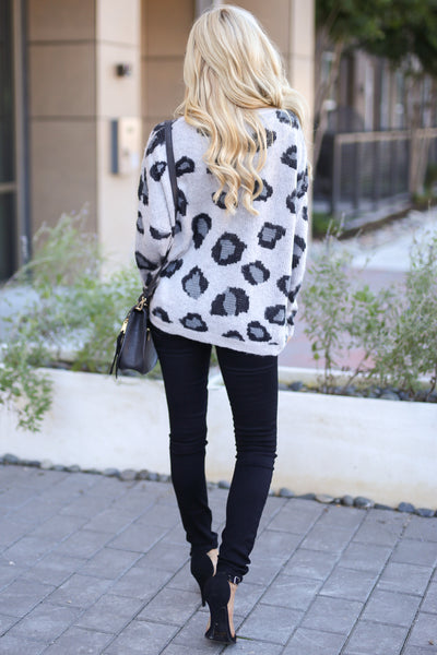 Love Spell Leopard Sweater - Grey animal print cozy pullover, fall outfit, closet candy boutique 4