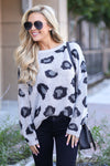 Love Spell Leopard Sweater - Grey animal print cozy pullover, fall outfit, closet candy boutique 1