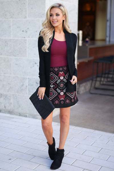 Vineyard Vibes Embroidered Skirt - Black vegan suede with embroidery details, closet candy boutique 1