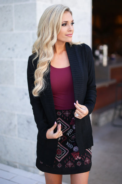Vineyard Vibes Embroidered Skirt - Black vegan suede with embroidery details, closet candy boutique 3