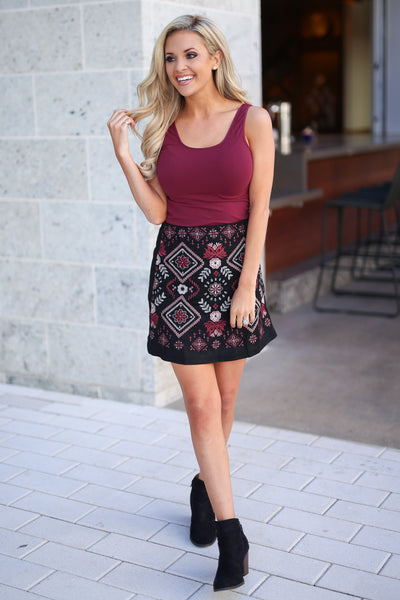 Vineyard Vibes Embroidered Skirt - Black vegan suede with embroidery details, closet candy boutique 4