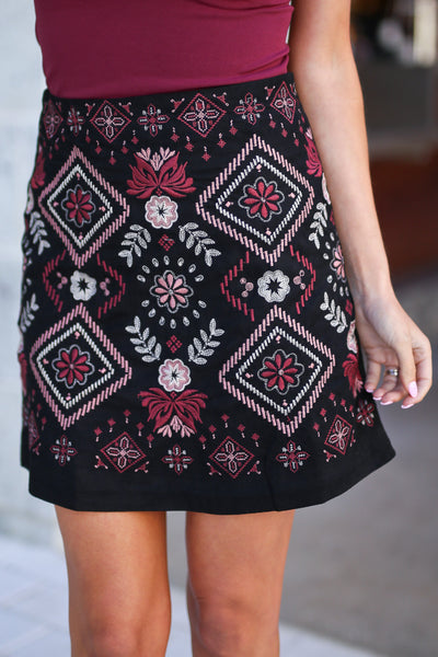 Vineyard Vibes Embroidered Skirt - Black vegan suede with embroidery details, closet candy boutique 2