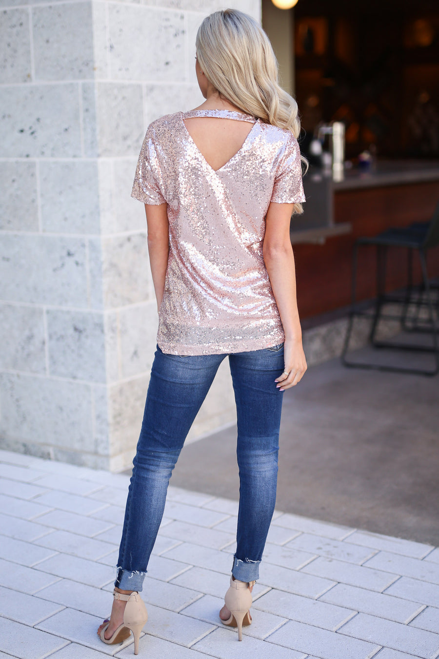 Born To Sparkle Sequin Top - Rose Gold sequins short sleeve top with back detail, closet candy boutique 1