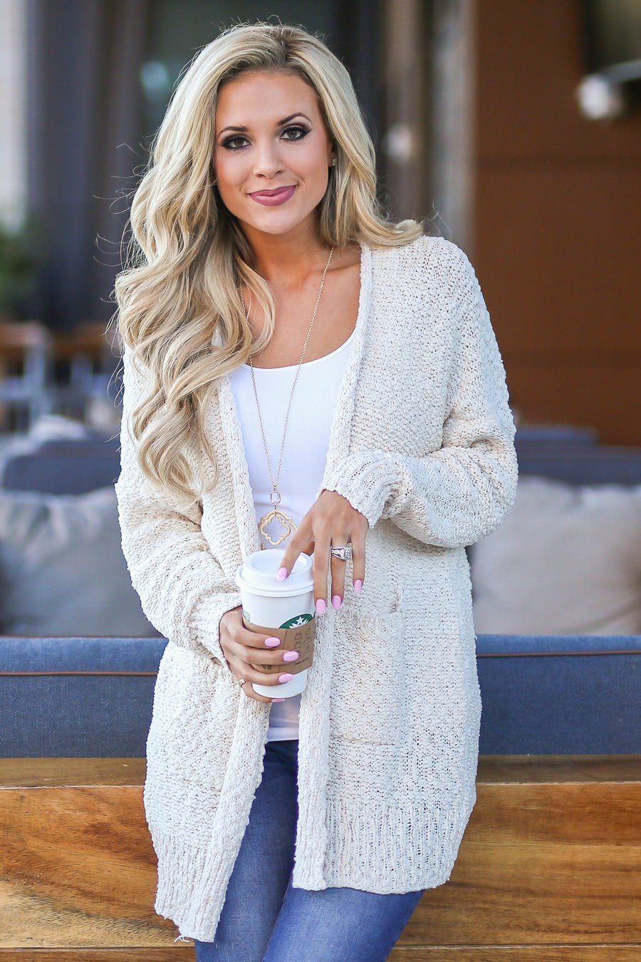 Time To Chill Knit Cardigan - Cream cozy knit open-front sweater, closet candy boutique 1