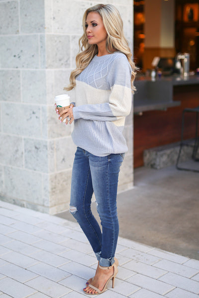 Smitten For You Sweater - Heather Grey & Cream women's color block knit sweater, textured, trendy for fall, closet candy boutique 3