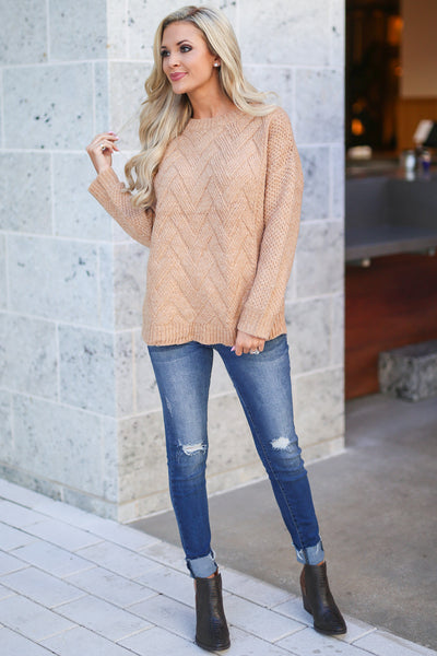 Cider and Chill Sweater - Camel zig-zag knit women's chunky sweater, closet candy boutique 1