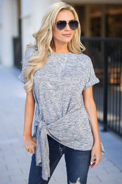Social Hour Side Tie Top - Grey short sleeve shirt with side tie, closet candy boutique 1