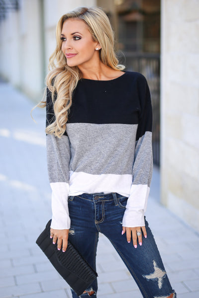 Relaxing In Style Color Block Top - Black, grey, and white colorblock long sleeve, closet candy boutique 3