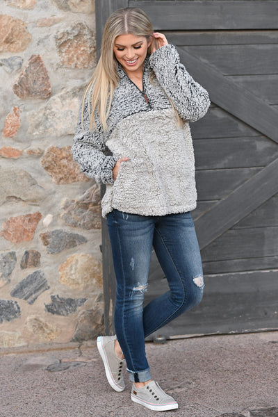 THREAD & SUPPLY Hug It Out Pullover - Indigo & Ivory super soft women's pullover sweater, closet candy boutique 1