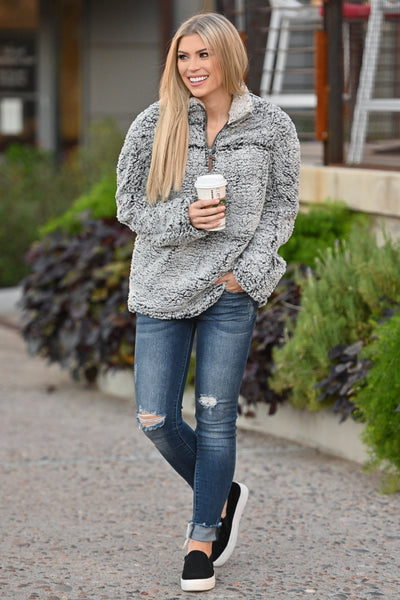 THREAD & SUPPLY Sippin' Cider Pullover - Charcoal super soft women's pullover sweater, closet candy boutique 1