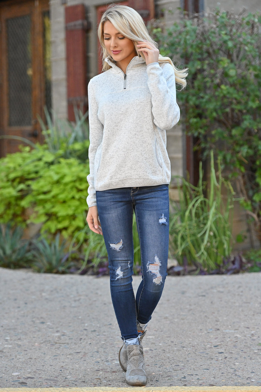 THREAD & SUPPLY Comfort Is Calling Pullover - Heather Ivory long sleeve sweater with pocket closet candy boutique 1