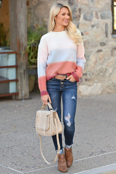 Never Fade Away Ombre Sweater - Sunrise, coral, lavender, ivory, rose color block top, closet candy boutique 1