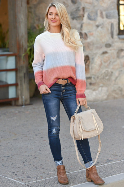 Never Fade Away Ombre Sweater - Sunrise, coral, lavender, ivory, rose color block top, closet candy boutique 3