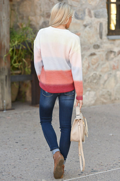 Never Fade Away Ombre Sweater - Sunrise, coral, lavender, ivory, rose color block top, closet candy boutique 5