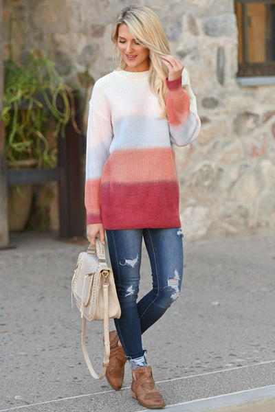Never Fade Away Ombre Sweater - Sunrise, coral, lavender, ivory, rose color block top, closet candy boutique 2
