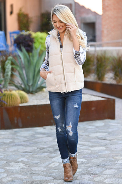 So This Is Love Quilted Vest - Oatmeal women's cozy fall vest closet candy boutique 2