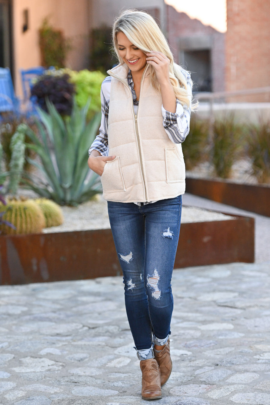 So This Is Love Quilted Vest - Oatmeal women's cozy fall vest closet candy boutique 1