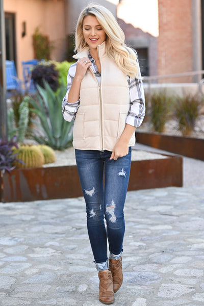 So This Is Love Quilted Vest - Oatmeal women's cozy fall vest closet candy boutique 4