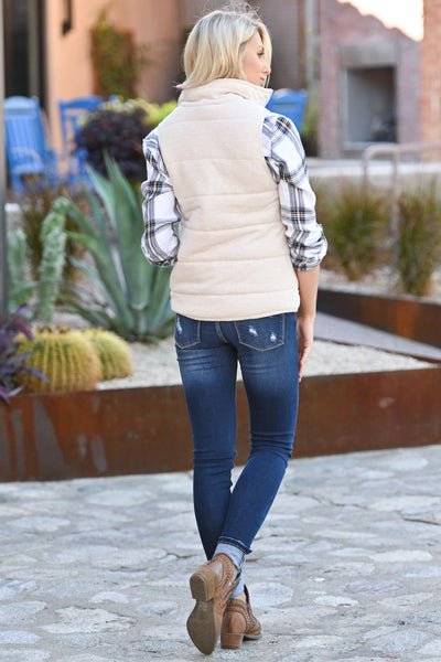 So This Is Love Quilted Vest - Oatmeal women's cozy fall vest closet candy boutique 3