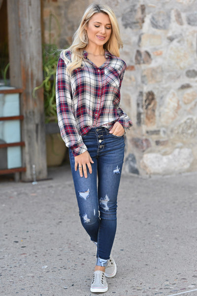 THREAD & SUPPLY Down Home Girl Plaid Top - Red, navy & ivory checkered long sleeve, closet candy boutique 1