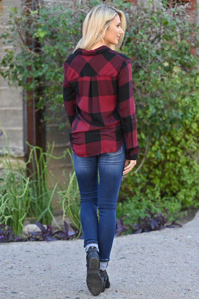 THREAD & SUPPLY Lodge Life Plaid Top - Wine long sleeve flannel top, closet candy boutique 5