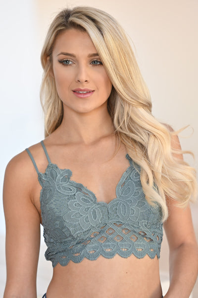 Day Dreamer Bralette - Teal Grey women's scallop lace beautiful bralette closet candy boutique 1