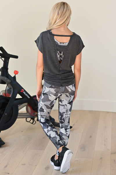 Never Giving Up Athletic Top - Black women's activewear with back detail, closet candy boutique 2
