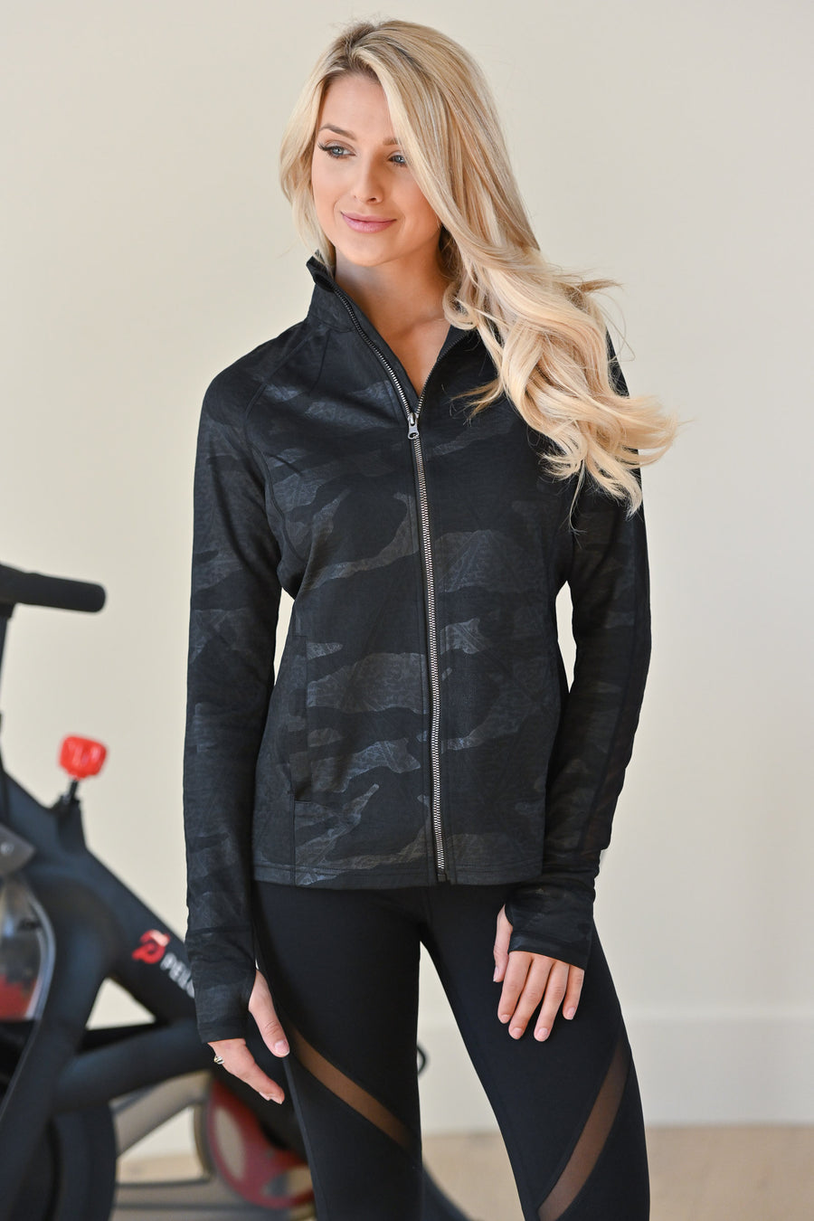 Crushing Goals Camo Jacket - Black women's athletic jacket with camo print, closet candy boutique 1