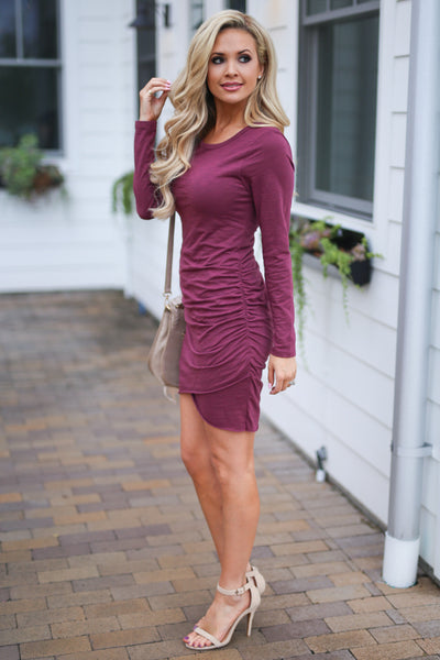 Nothing Better Long Sleeve Dress - Merlot women's trendy ruched round neckline fitted dress, best seller, Closet Candy Boutique 2