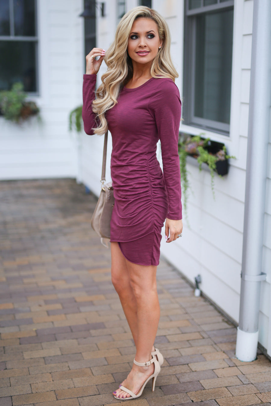 Nothing Better Long Sleeve Dress - Merlot women's trendy ruched round neckline fitted dress, best seller, Closet Candy Boutique 1