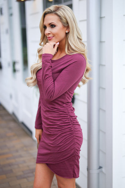 Nothing Better Long Sleeve Dress - Merlot women's trendy ruched round neckline fitted dress, best seller, Closet Candy Boutique 5