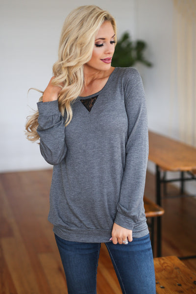 Back On Track Top - Charcoal women's long sleeve, lace, ripped cut out, back detail, closet candy boutique 4