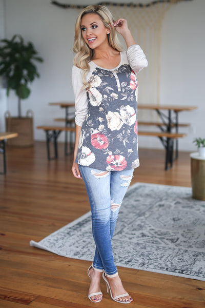 Ahead Of The Game Raglan - Charcoal, floral print raglan top, closet candy boutique 2