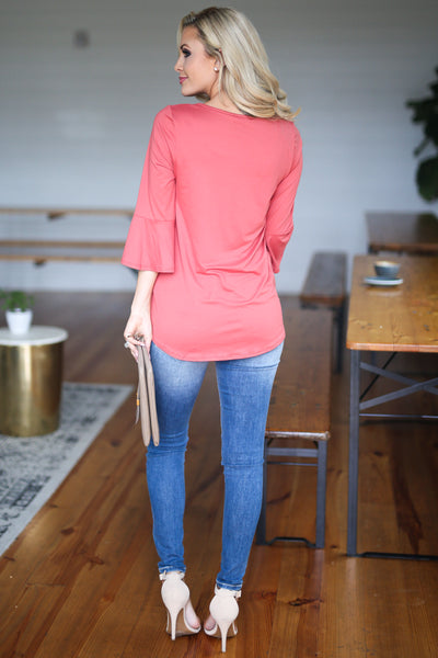Eye Candy Bell Sleeve Top - Coral women's bell sleeve knot hem top, closet candy boutique 4
