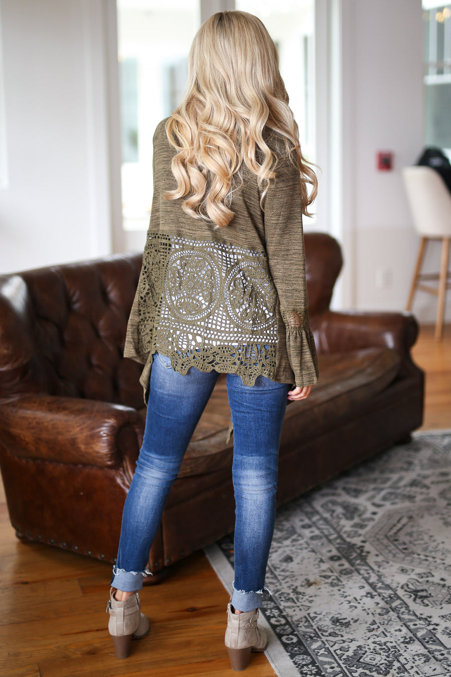 Little Details Bell Sleeve Cardigan - Olive cardigan with crochet details, closet candy boutique 1