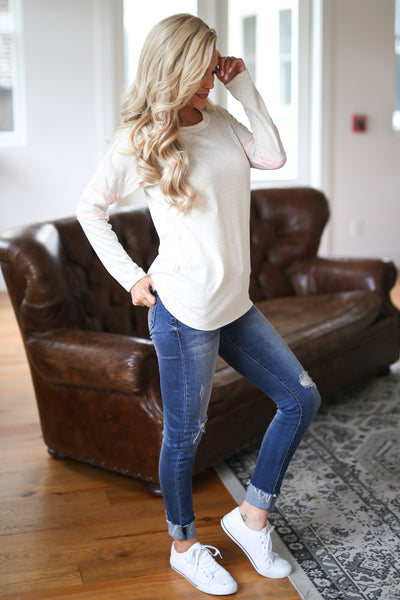 Better Keep Up Top - Oatmeal women's long sleeve top with light pink stripe detail on arms, closet candy boutique 1