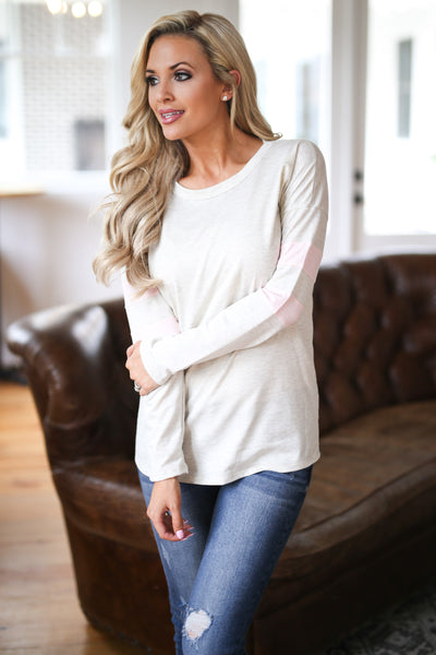 Better Keep Up Top - Oatmeal women's long sleeve top with light pink stripe detail on arms, closet candy boutique 2