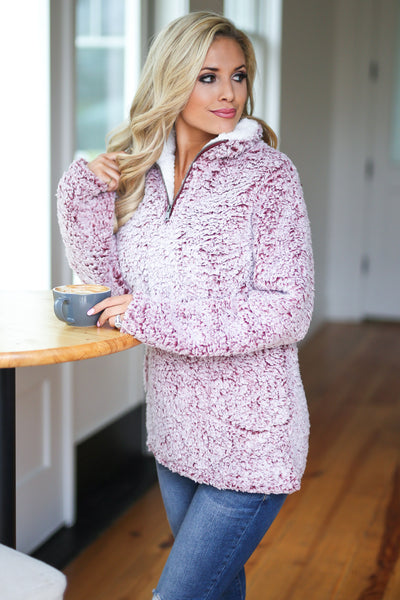 Cuddle Closer Pullover - Wine fuzzy soft sherpa pullover, closet candy boutique 4