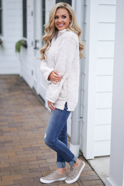 Cuddle Closer Pullover - Oatmeal fuzzy soft sherpa pullover, closet candy boutique 3