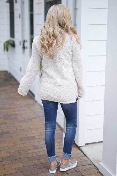 Cuddle Closer Pullover - Oatmeal fuzzy soft sherpa pullover, closet candy boutique 4