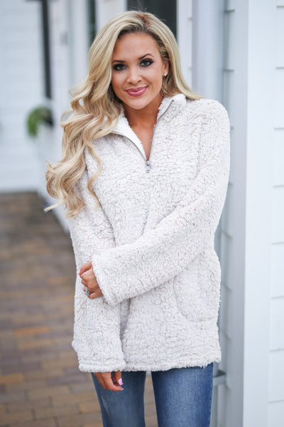Cuddle Closer Pullover - Oatmeal fuzzy soft sherpa pullover, closet candy boutique 1