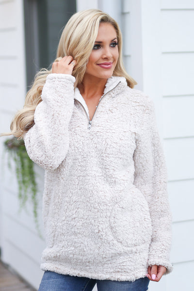 Cuddle Closer Pullover - Oatmeal fuzzy soft sherpa pullover, closet candy boutique 5