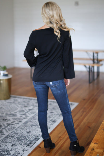 """Faith"" Sweatshirt - Black bell sleeve graphic top, closet candy boutique 4"