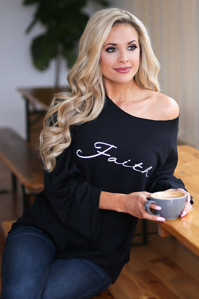 """Faith"" Sweatshirt - Black bell sleeve graphic top, closet candy boutique 2"