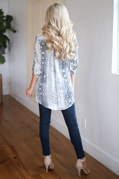 Come Hither Snake Print Top - Grey snake print, v-neck, hi-low top, closet candy boutique 3
