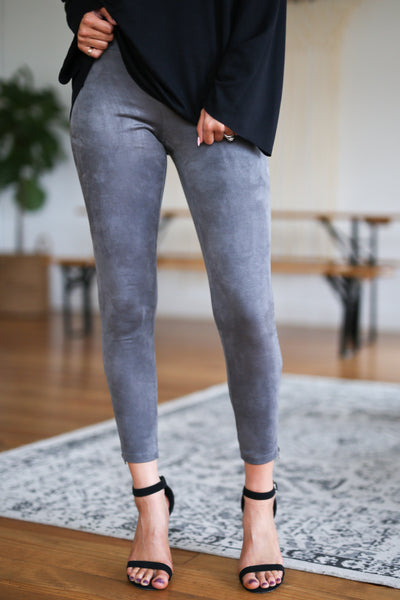Rhyme & Reason Suede Leggings - Charcoal vegan suede zipper leggings, Closet Candy Boutique 3