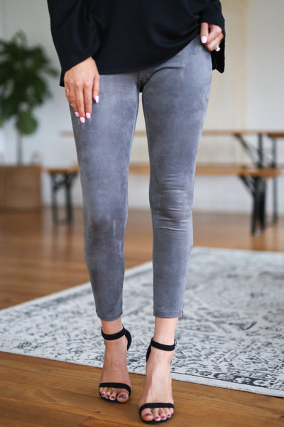 Rhyme & Reason Suede Leggings - Charcoal vegan suede zipper leggings, Closet Candy Boutique 1