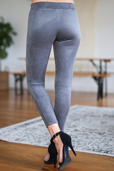 Rhyme & Reason Suede Leggings - Charcoal vegan suede zipper leggings, Closet Candy Boutique 4