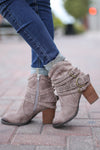 Life's A Dance Booties - Trendy taupe western suede booties, side, Closet Candy Boutique